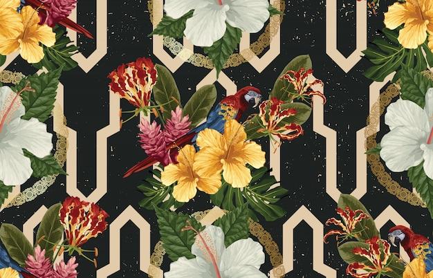 Элегантный бесшовный узор из тропических животных, цветов и листьев Premium векторы