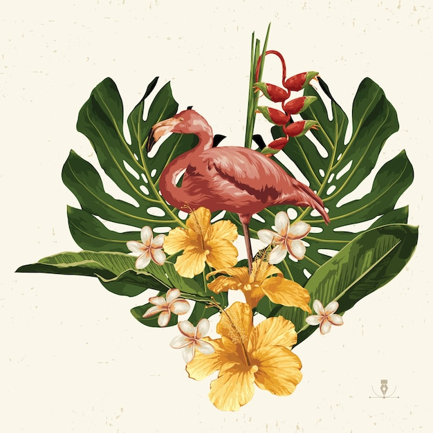熱帯の夏のクリップアート。背景のデザインに便利な夏のエンブレム。 Premiumベクター