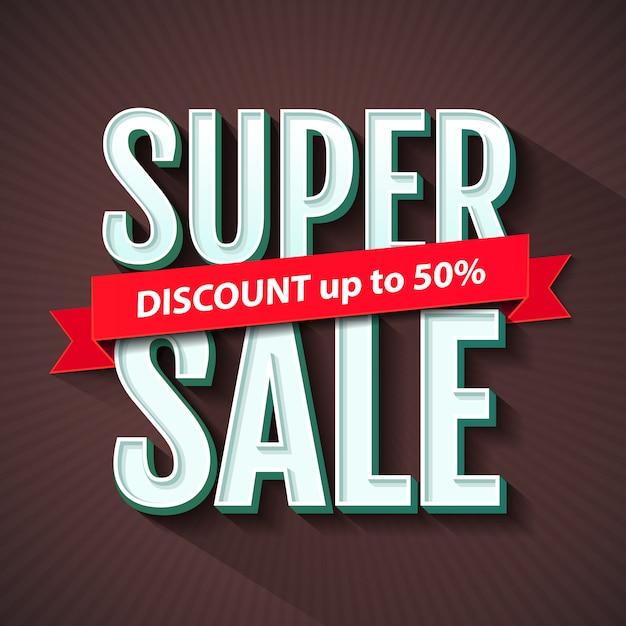 Супер распродажа надпись, баннер дизайн шаблона. супер распродажа, скидка. Premium векторы