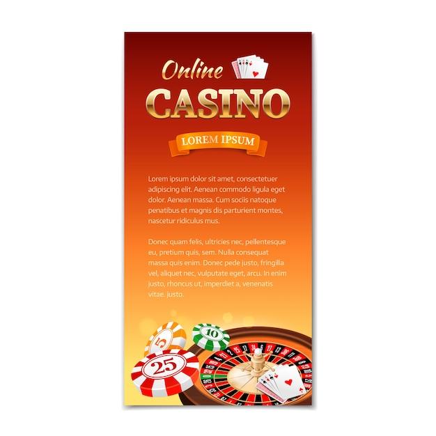 カジノ垂直バナー、チラシ、ルーレットホイール、ゲームカード、チップのカジノテーマのパンフレット Premiumベクター