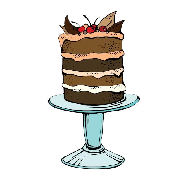 手描きのお祝いケーキ。白地に桜とチョコレートパイの色ベクトルイラスト Premiumベクター