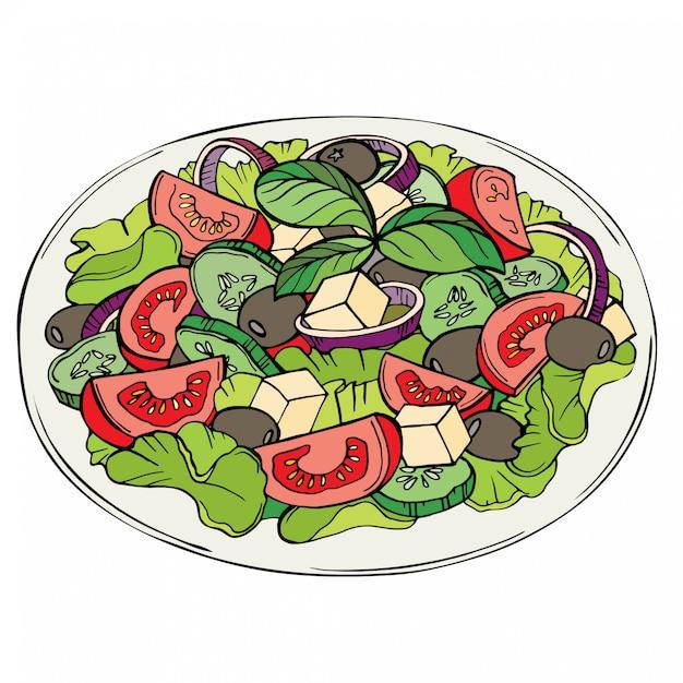 Свежий салат, натуральные продукты, овощи Premium векторы