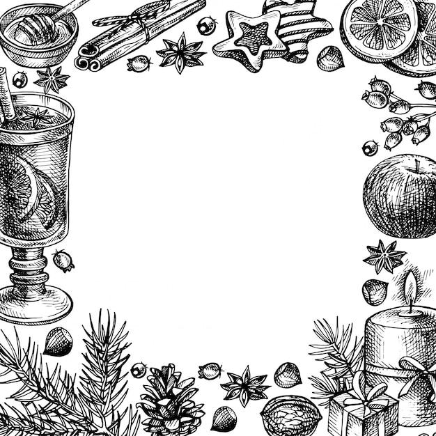 Ручной обращается веселого рождества и счастливого нового года праздник кадр иллюстрации. Premium векторы