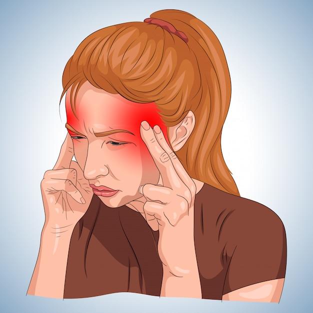 頭痛、赤の指定で女性の身体に示す Premiumベクター