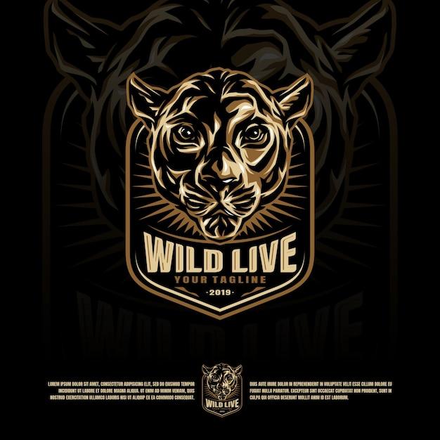 野生の猫頭のマスコットのロゴ Premiumベクター