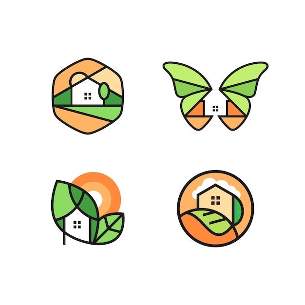 家のロゴのベクトルを設定 Premiumベクター