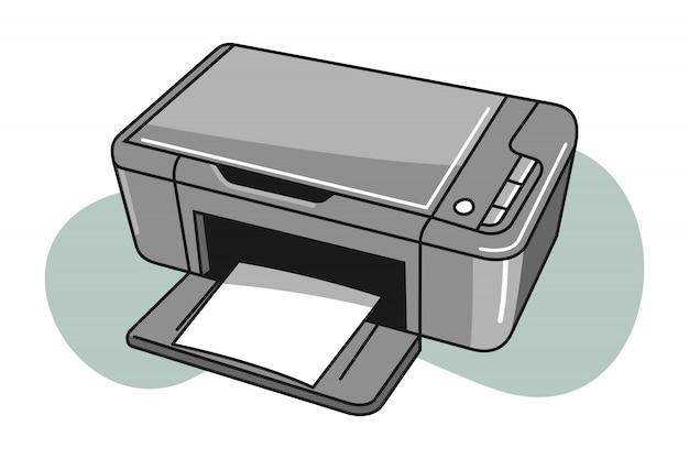 Мультфильм иллюстрация принтера Premium векторы