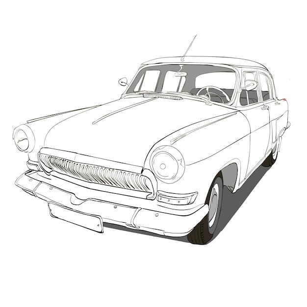 手描きの車。レトロな手はスケッチされた車のイラスト。 Premiumベクター