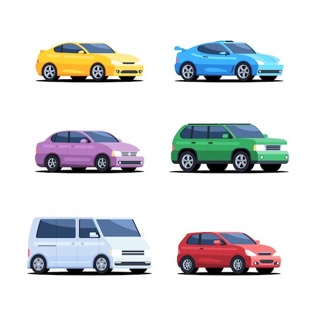 色の車のセット Premiumベクター