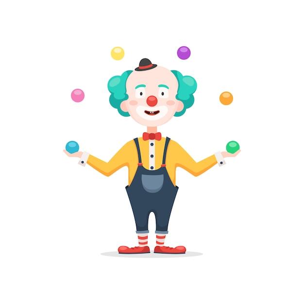 Клоун жонглирует разноцветными шариками Premium векторы