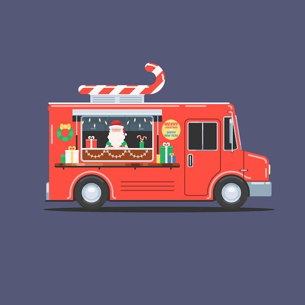 クリスマストラックのサンタクロース Premiumベクター