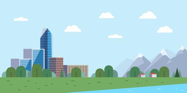 Городской пейзаж и горы Premium векторы