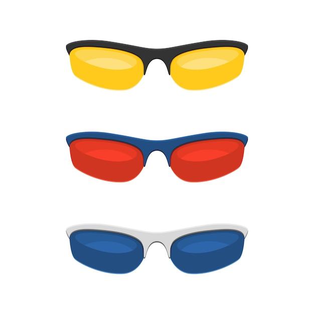 Красочные спортивные солнцезащитные очки Premium векторы