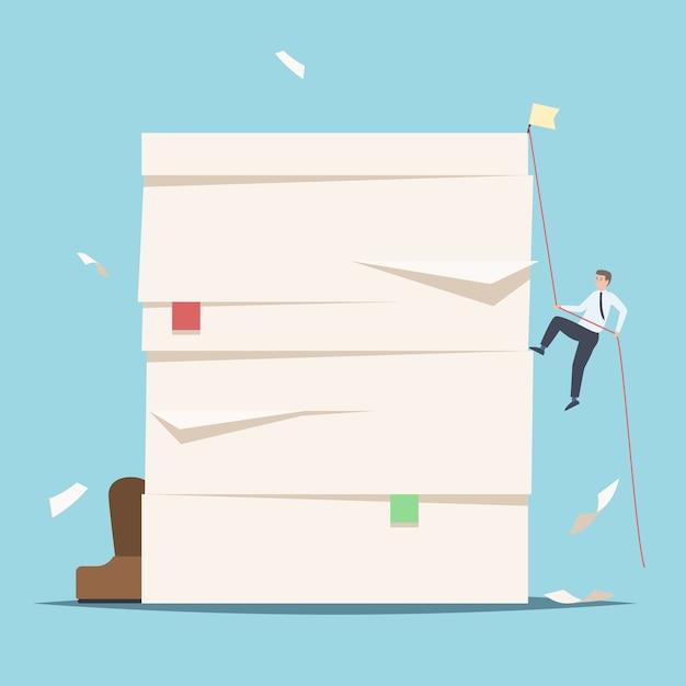 書類の山を登るビジネスマン Premiumベクター