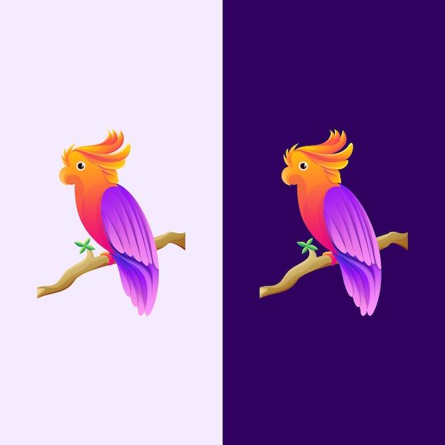 Фиолетовый и оранжевый логотип попугай Premium векторы