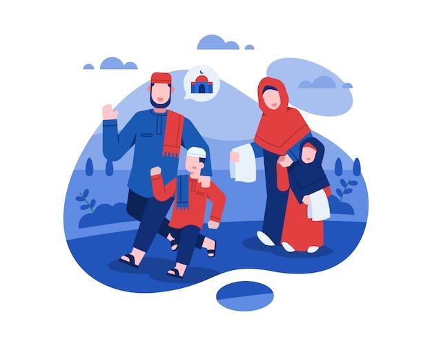 Ид аль-фитр иллюстрация с мусульманской семьей собираются помолиться в мечеть Premium векторы