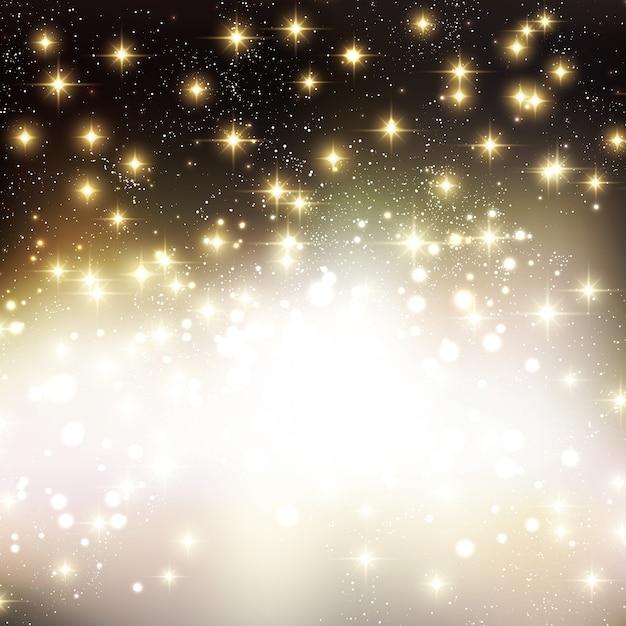 光沢のある星とメリークリスマスの休日の背景 Premiumベクター