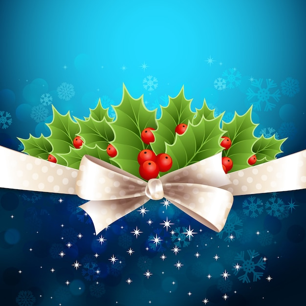 弓とヒイラギのベクトルクリスマス背景 Premiumベクター