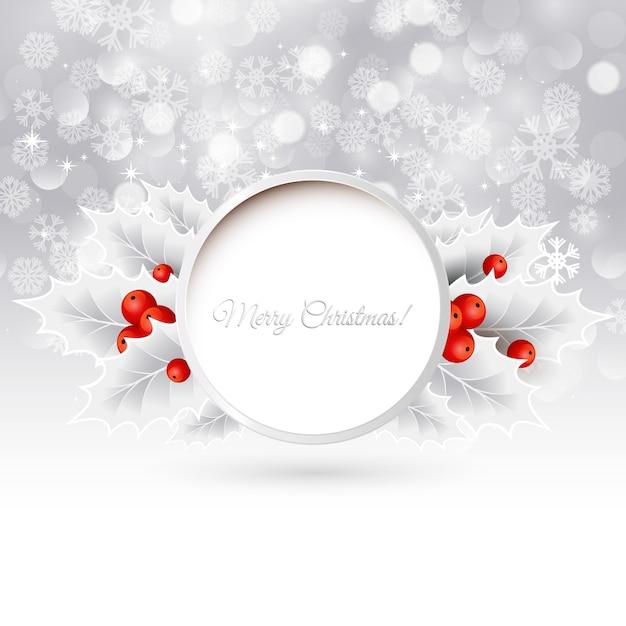 ホリーとベクトルクリスマスの背景 Premiumベクター
