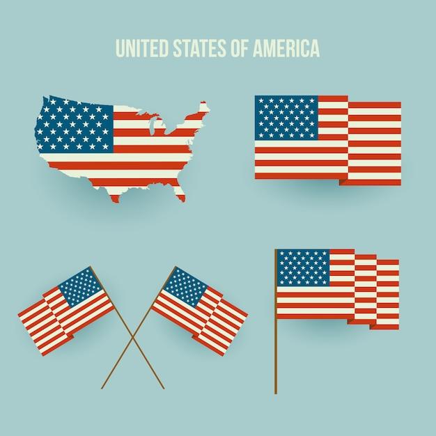 Набор американского флага и карты. плоский дизайн Premium векторы