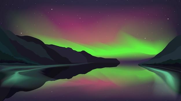 Северное сияние над горным озером Premium векторы