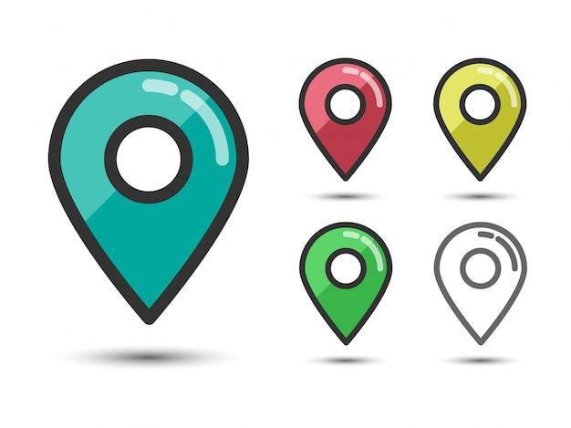 Набор цветных контактных указателей линейных плоских иконок Premium векторы