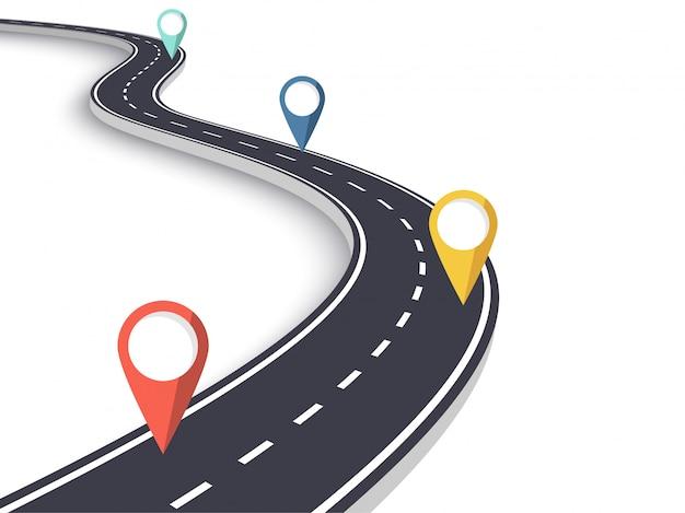 Извилистая дорога на белом фоне изолированные Premium векторы