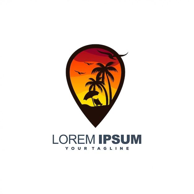 ビーチの夕日の色のロゴ Premiumベクター