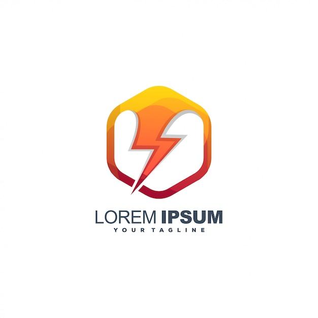 エネルギー蜂色ロゴデザイン Premiumベクター