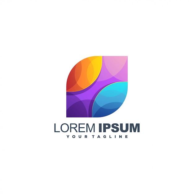 Абстрактный медиа градиент цветной логотип Premium векторы
