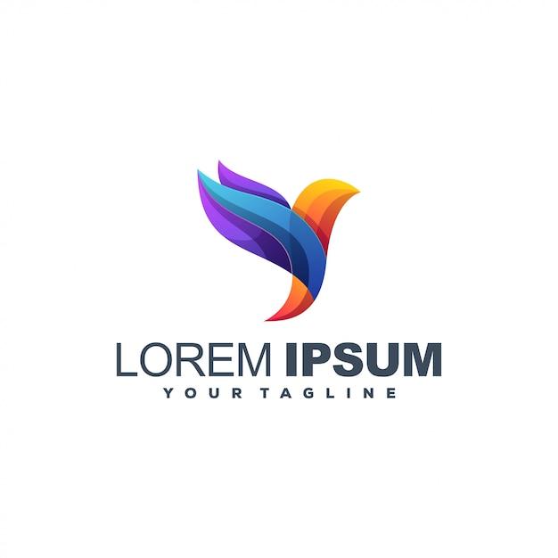 Дизайн логотипа цвета птицы Premium векторы