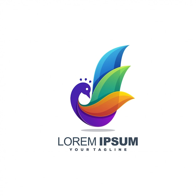 Птица полноцветный логотип Premium векторы