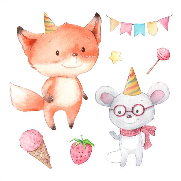 かわいいキツネとマウス、誕生日の水彩漫画セット Premiumベクター