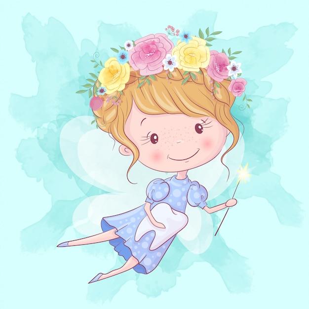 魔法の杖と歯のかわいい漫画歯の妖精。手描き Premiumベクター