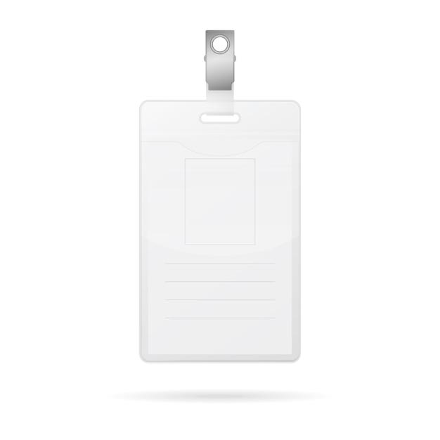 Вертикальная пустая карточка удостоверения личности изолированная на белизне Premium векторы
