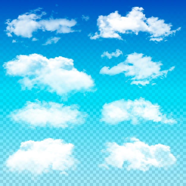 透明な雲のセット Premiumベクター