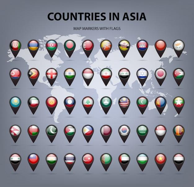 Карта маркеров с флагами азии. оригинальные цвета. Premium векторы