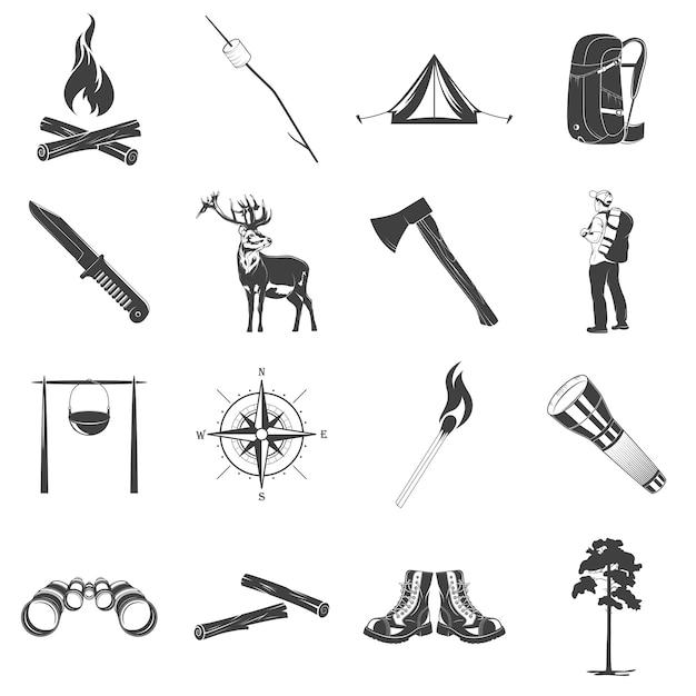 Иконки для кемпинга Premium векторы