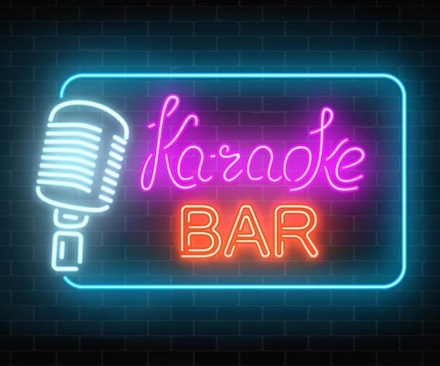 カラオケミュージックバーのネオン看板。ライブミュージックとナイトクラブの輝く道路標識。サウンドカフェアイコン。 Premiumベクター
