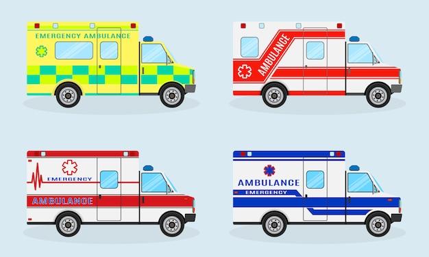 Набор из четырех машин скорой помощи. автомобиль скорой помощи, вид сбоку. автомобиль скорой медицинской помощи. Premium векторы