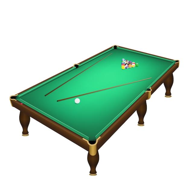 ビリヤードのゲームボールは、現実的なビリヤード台の位置を開始します。 Premiumベクター