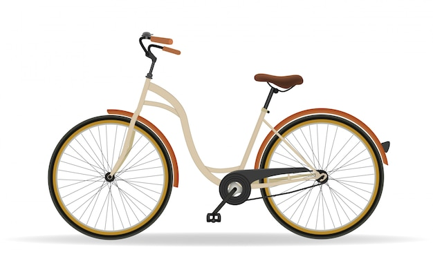 Винтажный велосипед изолированный на белой предпосылке. фитнес и концепция спортивной деятельности. вектор Premium векторы