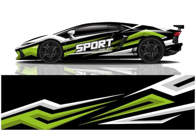 Наклейка на спортивный автомобиль, ливрея автомобиля Premium векторы