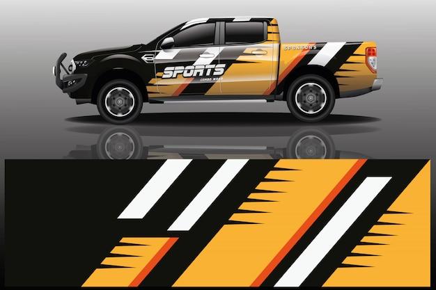 Пикап автомобиль наклейка иллюстрация Premium векторы