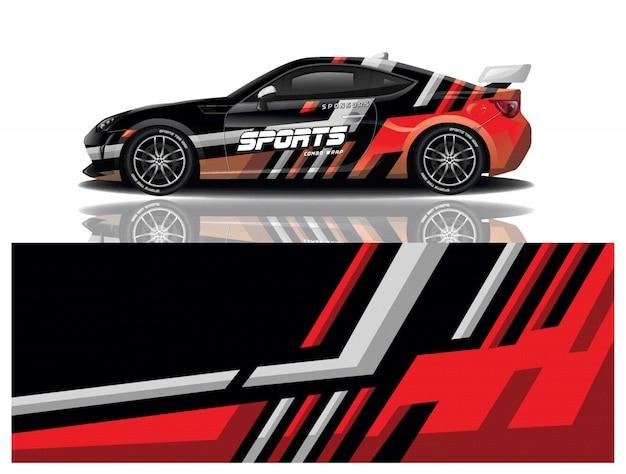 Спортивный автомобиль наклейка дизайн вектор Premium векторы