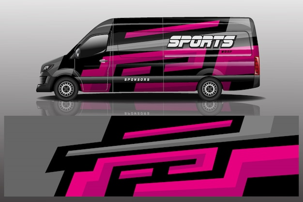 Фургон автомобиль наклейка иллюстрация Premium векторы