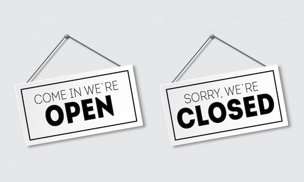 影で現実的なサイン。申し訳ありませんが、もう閉店致しました。入って来て、私たちは開いています。ロープで看板。 Premiumベクター