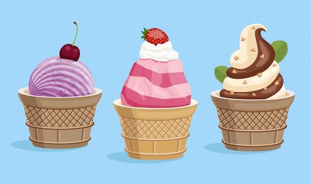 Мороженое в вафельном стаканчике, иллюстрации. Premium векторы