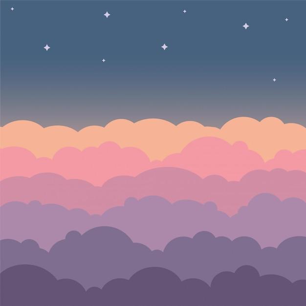 雲空の美しい漫画の背景。カラフルな雲と夜空 Premiumベクター