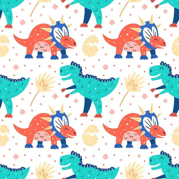 小さなかわいい恐竜とヤシの葉。フラット漫画カラフルな手描きのシームレスパターン Premiumベクター